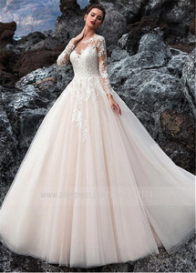 Image 2 - Exquisite Tulle Jewel Neckline A line Wedding Dress With Beadings Lace Appliques Long Sleeves Beach Bridal Gowns