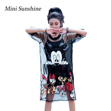 New Two Piece Set Mesh Dress See Through T Shirt Women Black Mickey Sequin Tshirt with Sequins z3