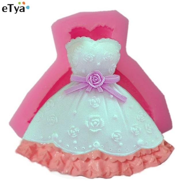 1pc Cute 3d Princess Wedding Dress Shape Silicone Cake Mold Fondant