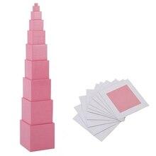 عالية الجودة خشبية مونتيسوري الرياضيات اللعب الوردي برج خشب متين مكعب 0.5 7 سنتيمتر مرحلة ما قبل المدرسة التعليم الأطفال هدية عيد