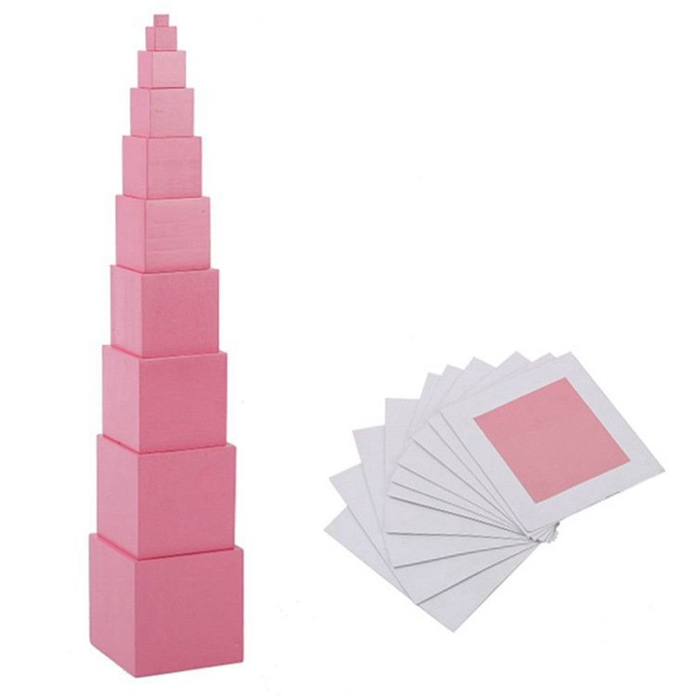 High Quality Wooden Montessori Mathematics Toys Pink Tower Solid Wood Cube 0.5-7cm Early Preschool Educational Children Day Gift