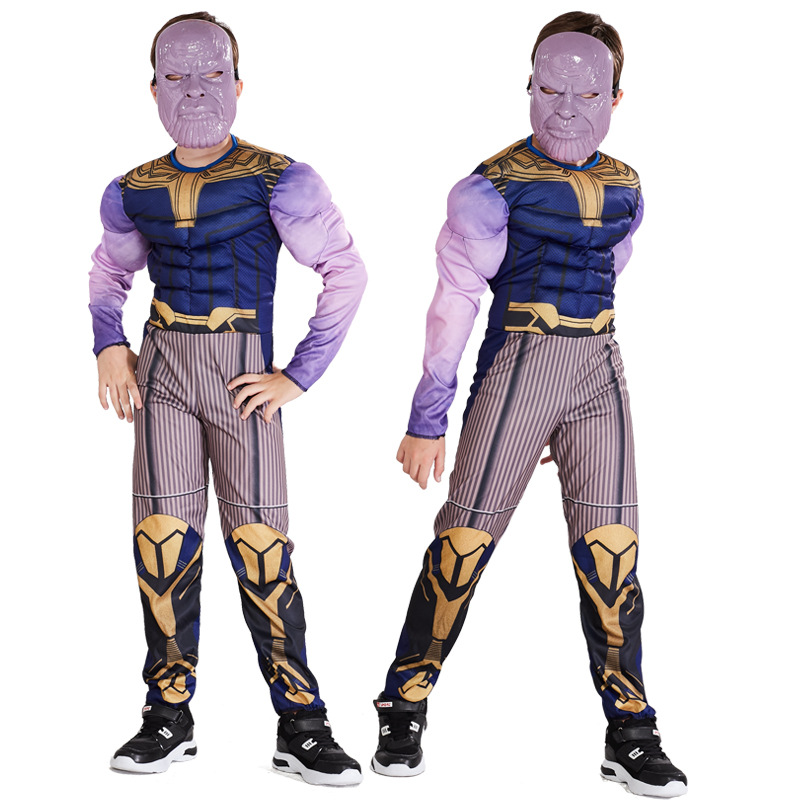 New Avengers 4 Thanos Muscle Costume Cosplay Kids Endgame Superhero Costume For Child Halloween Costume For Kids Carnival Suit