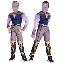 New Avengers 4 Thanos Muscle Costume Cosplay Kids Endgame Superhero For Child Halloween Carnival Suit
