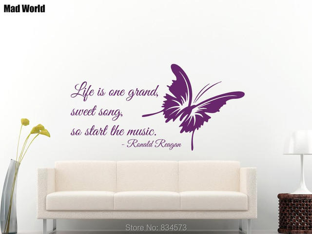 Mad World Life Is Sweet Song Quote Butterfly Wall Art Stickers Wall ...