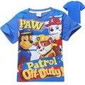 2017 Verano Niños Camisetas de la Historieta Perro de la Patrulla Camiseta de Manga Corta Niños tops marca niños camiseta bebé camisetas del muchacho 4 de 7 años de edad