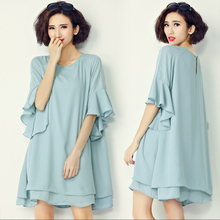 2017 summer fashion plus size clothing chiffon short-sleeve ruffle sleeve one-piece dress maternity clothing skirt loose