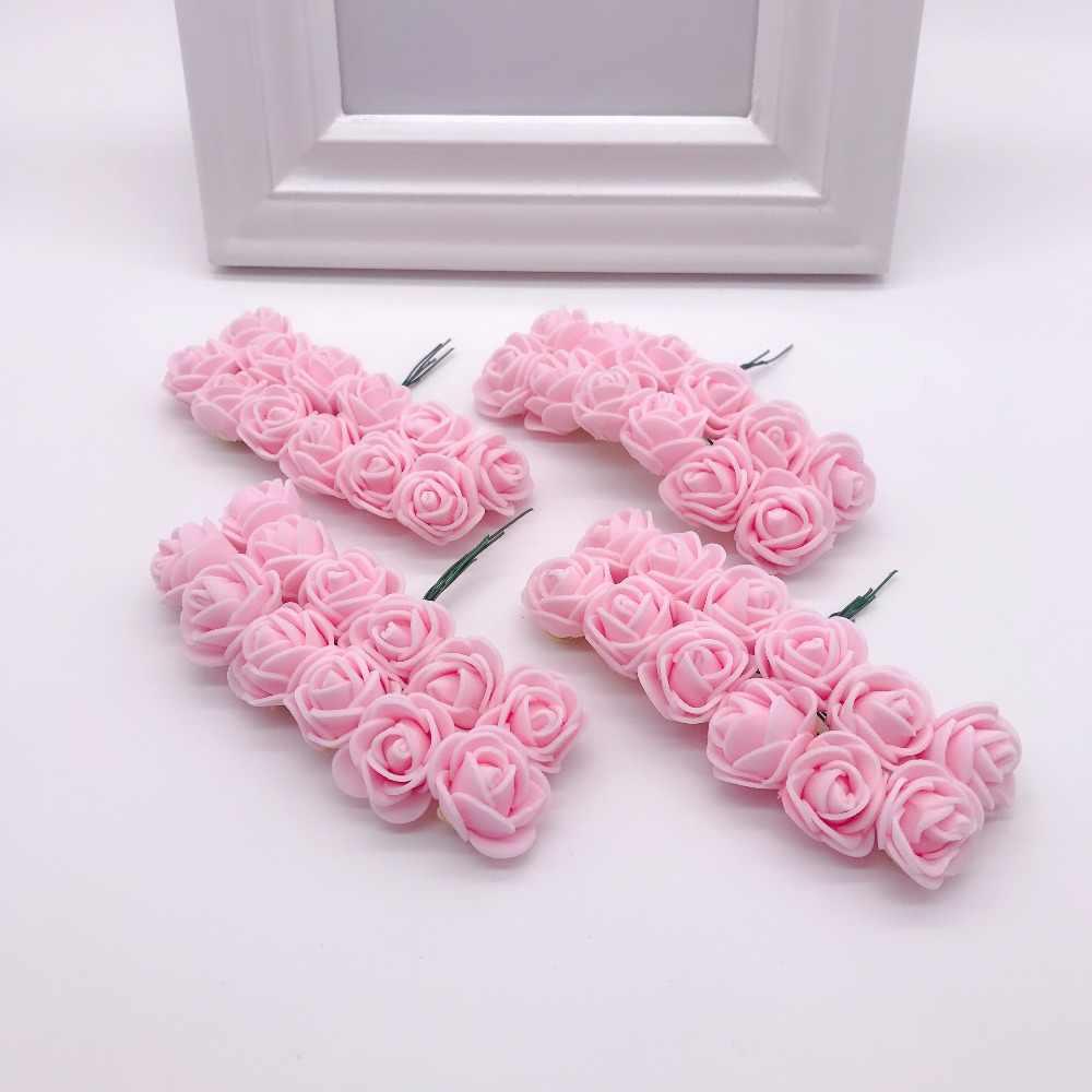 144 قطعة 2 سنتيمتر رغوة صغيرة الورود للمنزل الزفاف ورد صناعي ديكورا سكرابوكينغ لتقوم بها بنفسك إكليل هدية صندوق زهرة اصطناعية رخيصة باقة