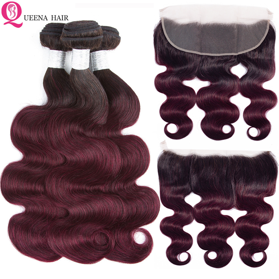 T1B/99j Remy Hair Ombre Bundles With Frontal Cheap Brazilian 100% Human Hair Weave Body Wave Bundles With Lace Frontal Closure
