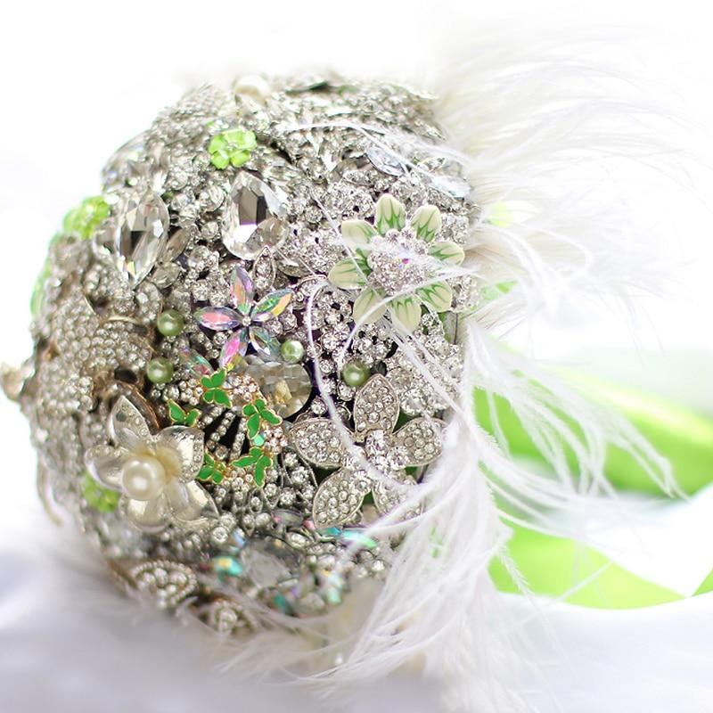 bride bouquet feather bouquet bling bouquet Bridal Silver Brooch Bouquet heirloom bouquet wedding crystal bouquet unique bouquet