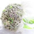 DIY 8 inch green bridal brooch bouquet,  Wedding Bride 's Rhinestone Jewelry crystal Pearl Ostrich feathers Bouquets decor