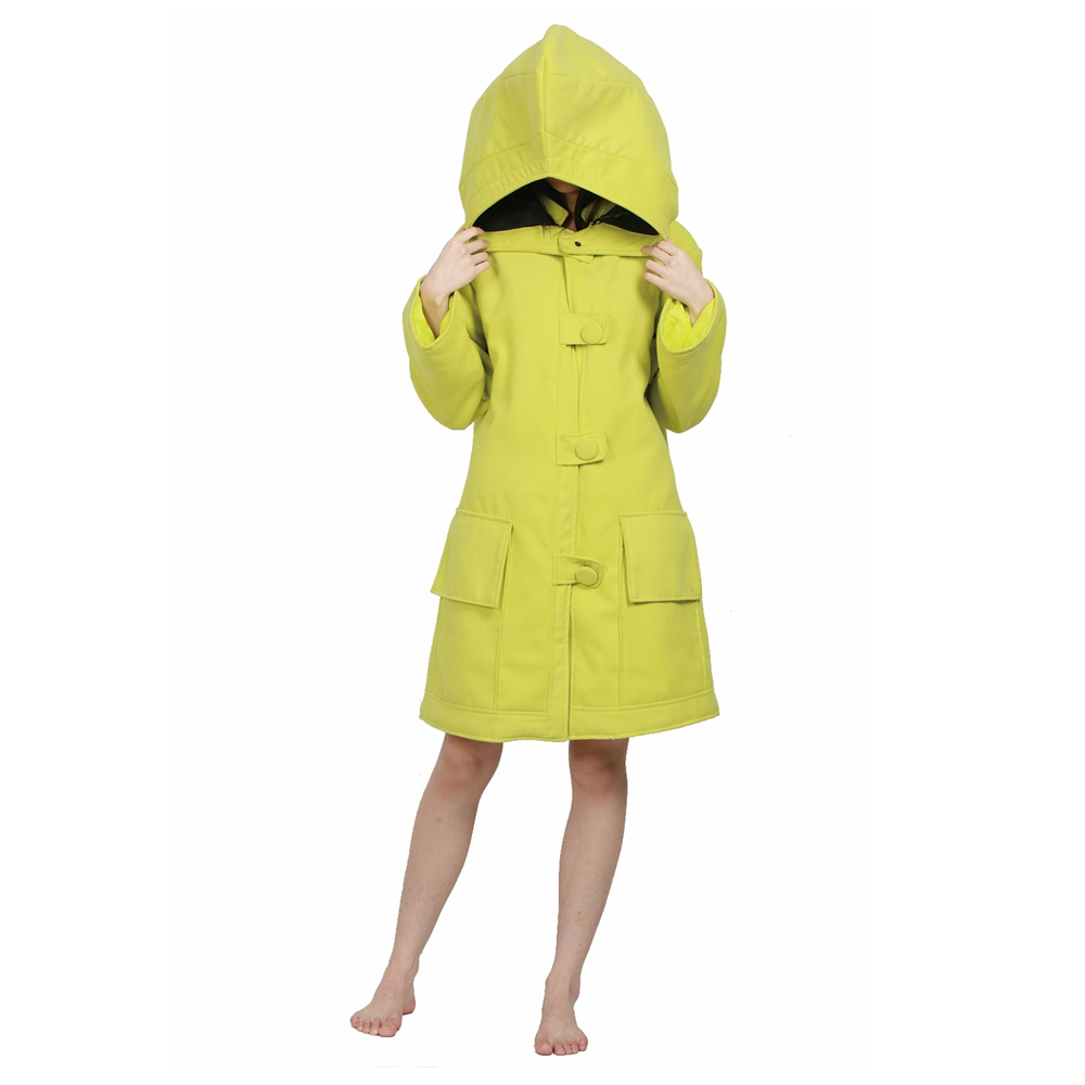 X-COSTUME Brand New Little Nightmares Game Cosplay Costume Small Six Yellow Coat With Detachable Big Hat Cosplay Set For Women
