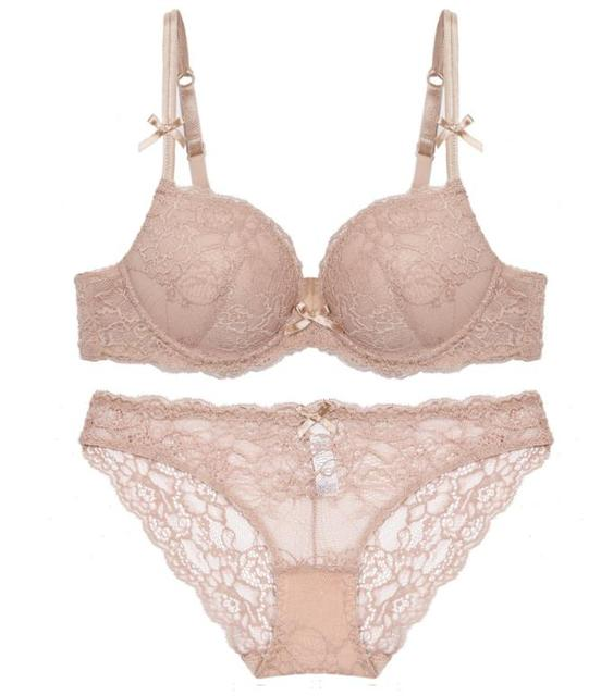 9702f98cb7 3 4 cup ultra thin lace Flowers Embroidery vogue sexy ladies bra sets women  underwear romantic temptation back closure underwire
