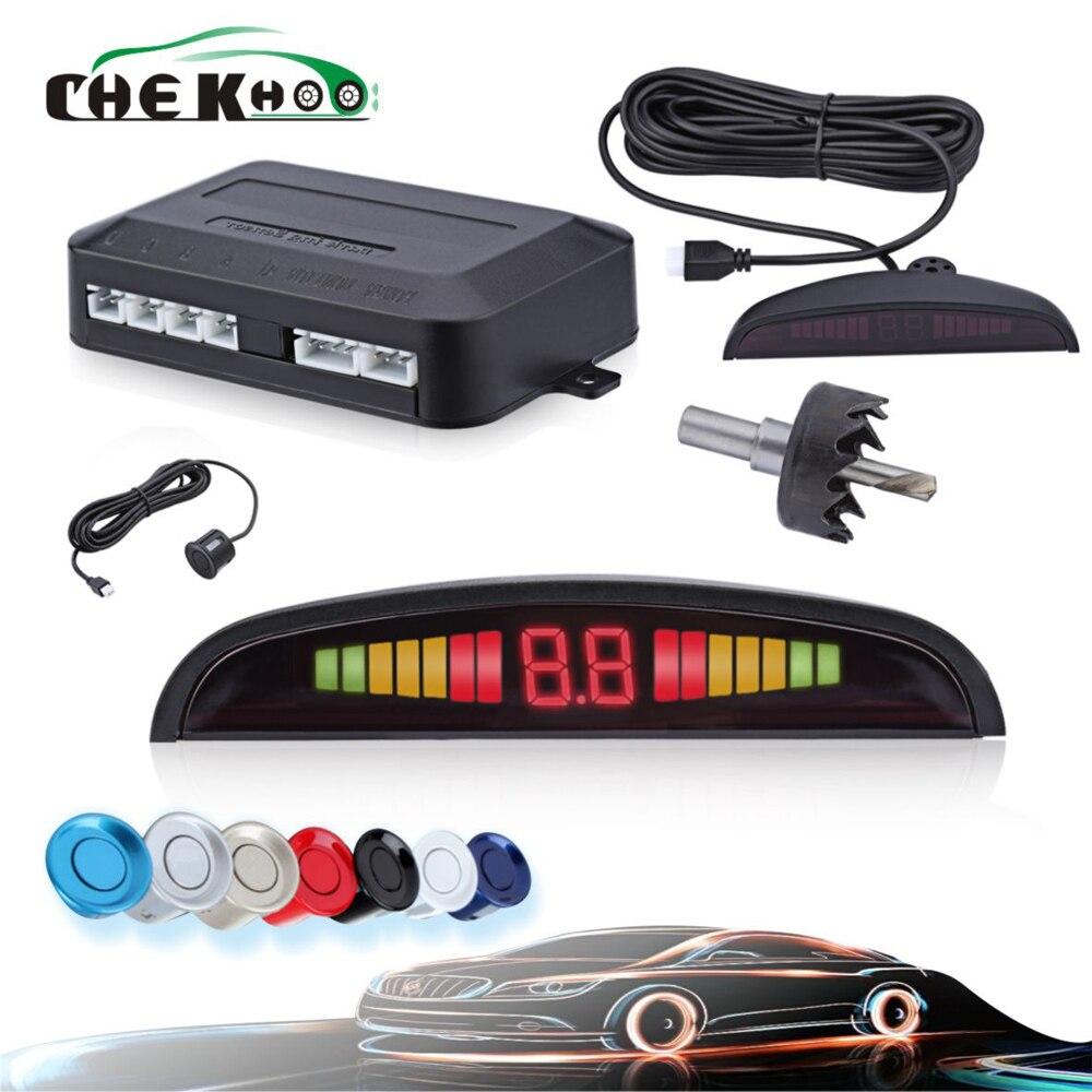Kit carro Auto Parktronic Display Led Sensores de Estacionamento 4 22mm Indicador Reverso Radar Backup Alerta Som Display Backlight