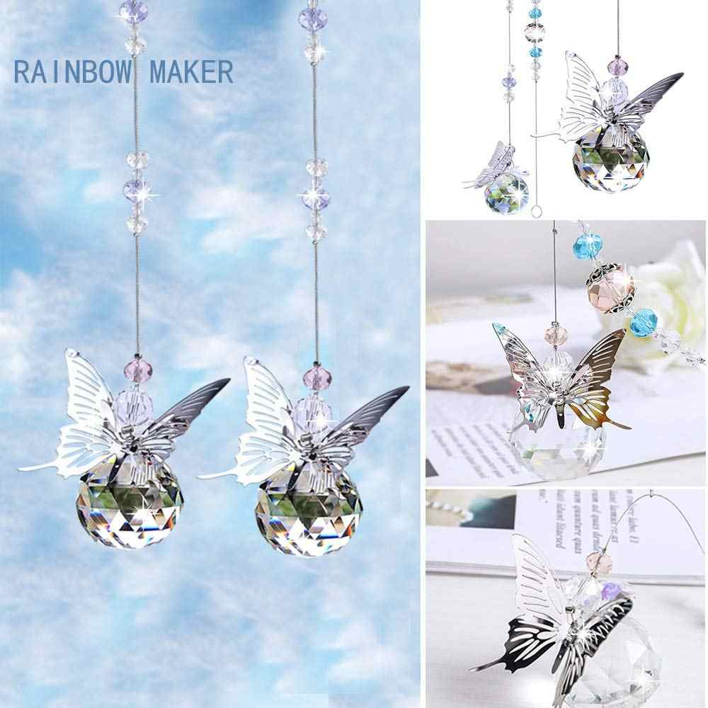 Rainbow Maker Purple Monarch Butterfly Figurine with 30mm Crystal Ball Bead Living Room Home Car Decoration Bedroom Kitchen Porch Decor Hangings Crystal Glass Ornament Sun Catcher Crystal Suncatcher