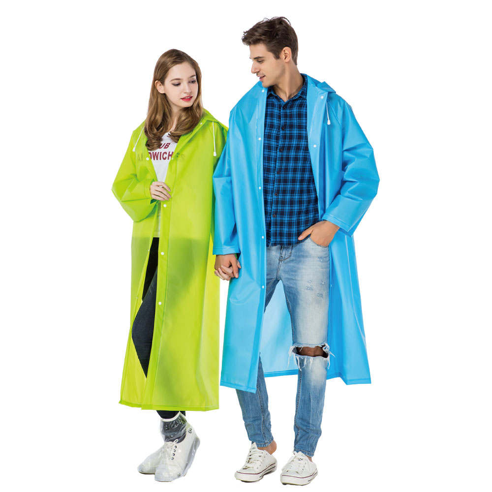 Long-Raincoat Waterproof Plastic Safety Travel Outdoor Translucent Men with Hood Over-Knee-Length