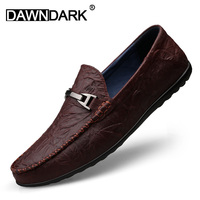 Luxury Genuine Leather Mens Casual Loafers Slip on Boat Shoes for Men Moccasins Brown Black Man Driving Fashion Sneakers