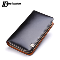 BOSTANTEN 2015New Vintage Men S Fashion Genuine Leather Casual Zipper Large Capacity Design Cowhide Wallet Hand