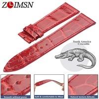 ZLIMSN Crocodile Leather Strap Quick Installation for Men's Women Blue Red Luxury Alligator Watch Bands Size 12mm 26mm 38mm 42mm