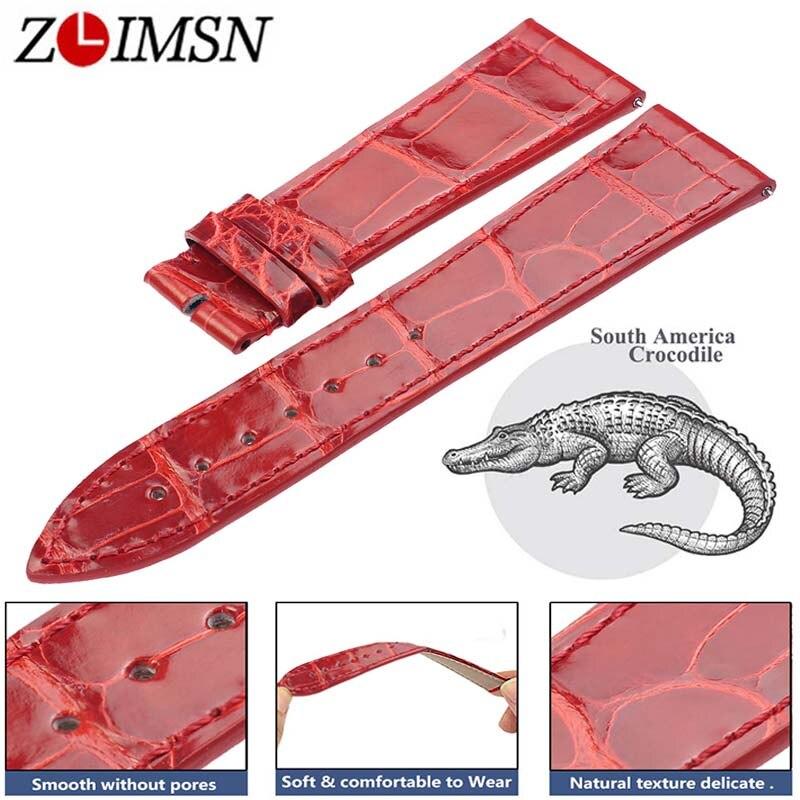 ZLIMSN Krokodil Leder Strap Quick Installation für Männer der Frauen Blau Rot Luxus Alligator Uhr Bands Größe 12mm  26mm 38mm 42mm-in Uhrenbänder aus Uhren bei  Gruppe 1