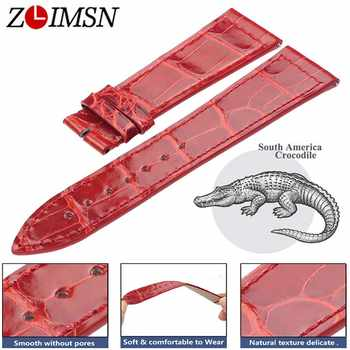 ZLIMSN bracelet en cuir Crocodile Installation rapide pour hommes femmes bleu rouge luxe Alligator bracelets de montre taille 12mm-26mm 38mm-42mm