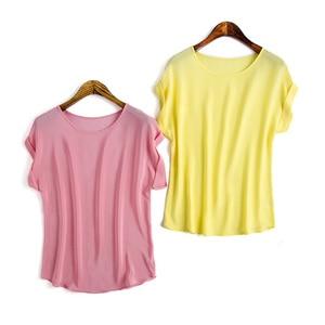 Image 2 - Women Real Silk T Shirt Short Bat sleeved Solid chiffon loose shirt 100% Natural silk Basic Top Plus size 2019 Summer bottoming