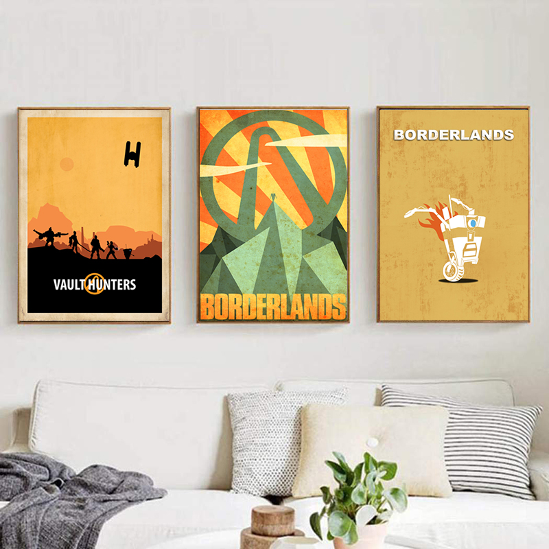 Video Games <font><b>Borderlands</b></font> Poster Vintage Vault Hunters Nordic Canvas Paintings Modern Wall Art Decorative Pictures for Living Room image