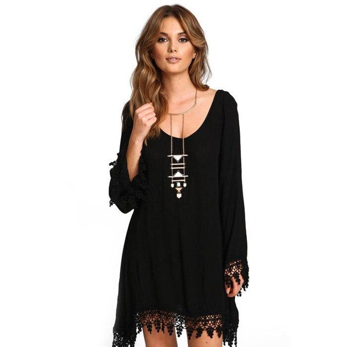 La MaxZa Oversized Tassel Loose Long Sleeve Women Dress Black Asymmetrical Mini Boho Streetwear Dresses Vestidos Mujer 2020