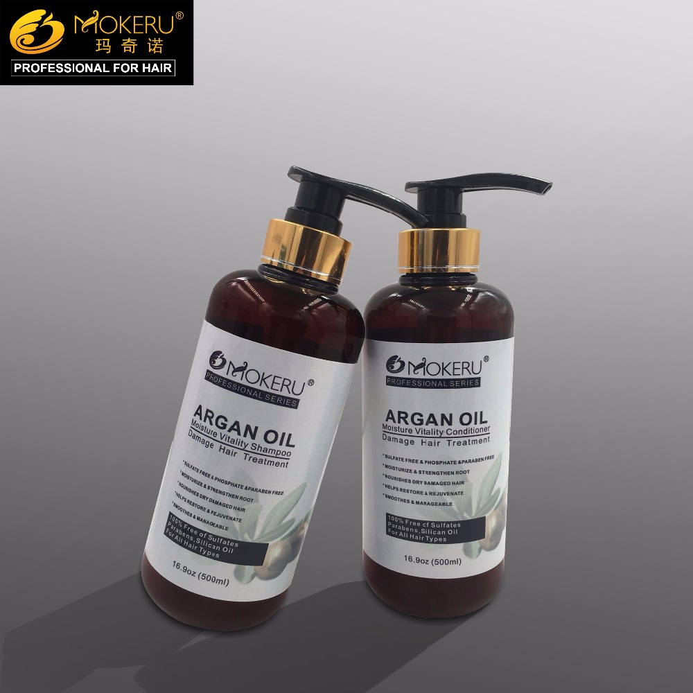 500ml*2/set Mokeru Argan Oil Shampoo And Conditioner For Damaged Hair Care Treatment image