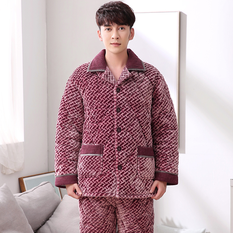 Winter 3 Layers Quilted Pajamas Warm Men Thick Flannel Pajama Sets Luxury Sleepwear Pattern Suits Men Casual Home Clothes Pijama