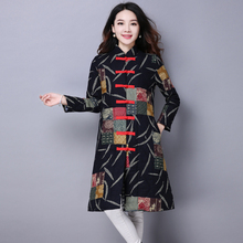Autunm Winter Plus Size Female Jacket&Coat Long Cotton Padded Thick Warm Outcoat Button Slim Print Linen Clothing Coat MY0038