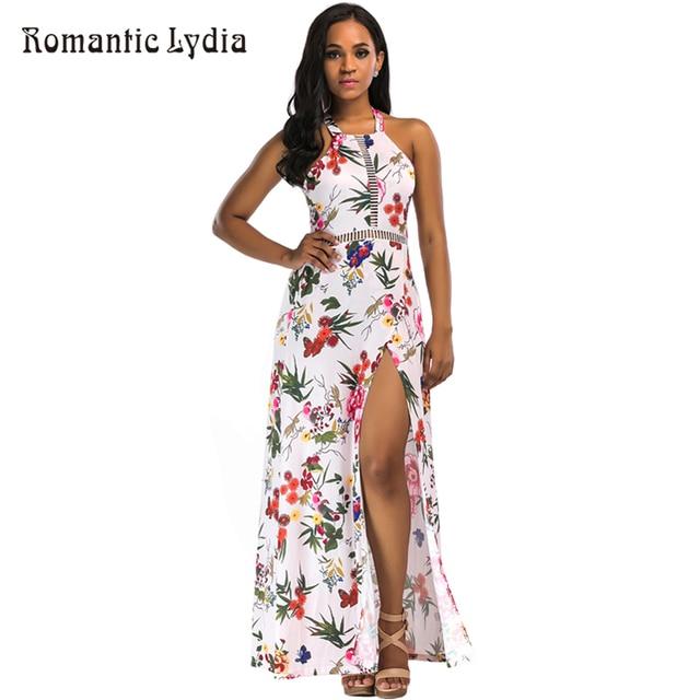 403f45b1fc Women 2018 Summer Boho Beach Floral Print Sexy Sundress Bohemian Fashion  Halter Backless High Split Maxi