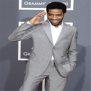 Hot Sales Light Gray One Button Men Suits For Wedding 2 Pieces (Jacket + Pants + Tie) Terno Masculino Lapel Cran Slim Fit
