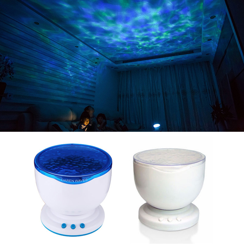цена на LED Night Light Starry Sky Ocean Wave Projector Lamp with Music MP3 Speaker Novelty Baby Night Lamp Romantic Gifit for Kids
