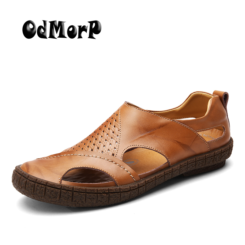 ODMORP Men Sandals New Fashion Cool Summer Casual Beach Men Shoes High Quality Leisure Leather Sandals Shoes Men Size 38-44