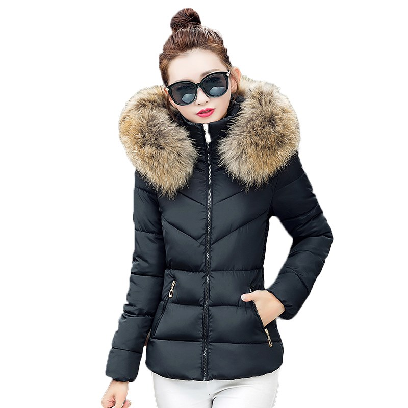 Park Fall 2016 fashion women winter jacket raccoon fur collar jacket thick hooded coat plus size women simulation casual jacket faux rabbit fur brown mr short jacket sleeveless with big raccoon collar fall coat