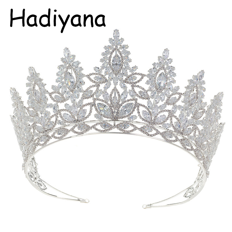 все цены на Hadiyana Luxury New Bride Bridesmaid Wedding tiaras and crowns Headband Shiny Cubic Zirconia Party Jewelry Crown HG6079