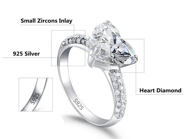 SHUANGR Elegant Shiny Big CZ Zircon Jewelry Heart Silver Color Rings For Women Wedding Engagement vintage ring zirconia bijoux