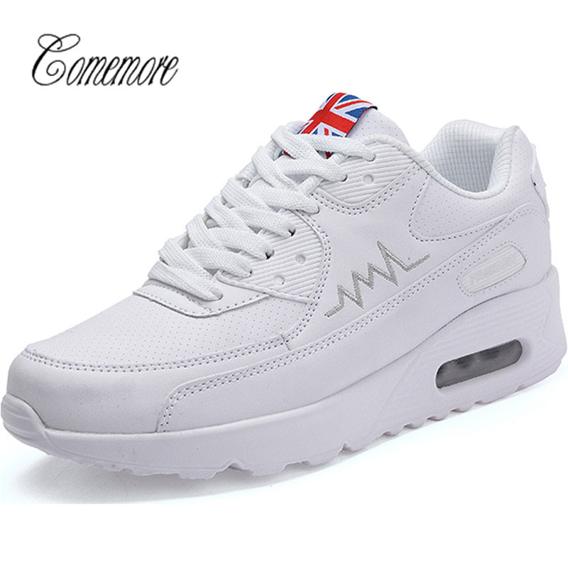 Comemore  Air Cushion Women's Sneakers Women Leather Running Shoes Women's White Woman Sport Shoes Female Sports Shoes Gym