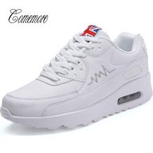 comemore Air Cushion Women's Sneakers Women Leather Running Shoes Women's White