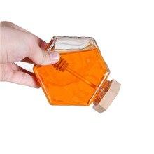 Pote de vidro para mel de 220ml/380ml, pequeno recipiente de garrafa de mel com colher de vara de mel de madeira