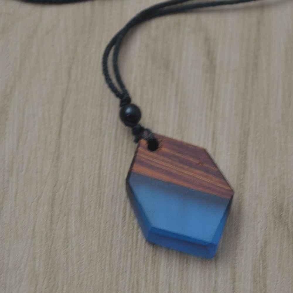 Leanzni Fashion geometryczny drewniany naszyjnik z żywicy wisiorek, drewno ziarno antyczne mężczyzn i kobiet biżuteria, tkana lina, prezenty