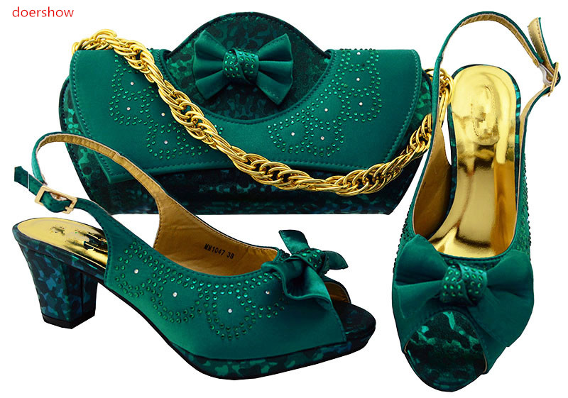 doershow Italian Shoe with Matching Bags Shoe and Bag Set for Party Women Italian Matching Shoe and Bag Set with stones  WR1-38 italian shoe with matching bag set for wedding african matching shoe and bag set with stones high quality women pumps red gf24