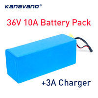 Kanavano 36V 10Ah 10S4P 500W high capacity 18650 lithium battery bike electric car battery scooter lithium battery 3A Charger