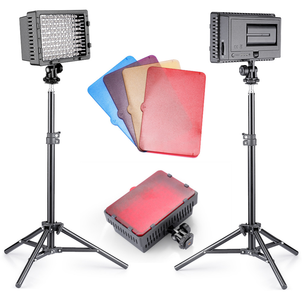 Neewer 2 Pieces CN-160 Dimmable Ultra High Power Panel LED Video Light Photographic Lighting Kit for Canon, Nikon, SonyNeewer 2 Pieces CN-160 Dimmable Ultra High Power Panel LED Video Light Photographic Lighting Kit for Canon, Nikon, Sony