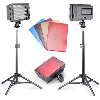 Neewer 2 Pieces CN-160 Dimmable Ultra High Power Panel LED Video Light Photographic Lighting Kit for Canon, Nikon, Sony
