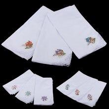 Набор из 12 носовых платков 100% хлопка с цветочной вышивкой
