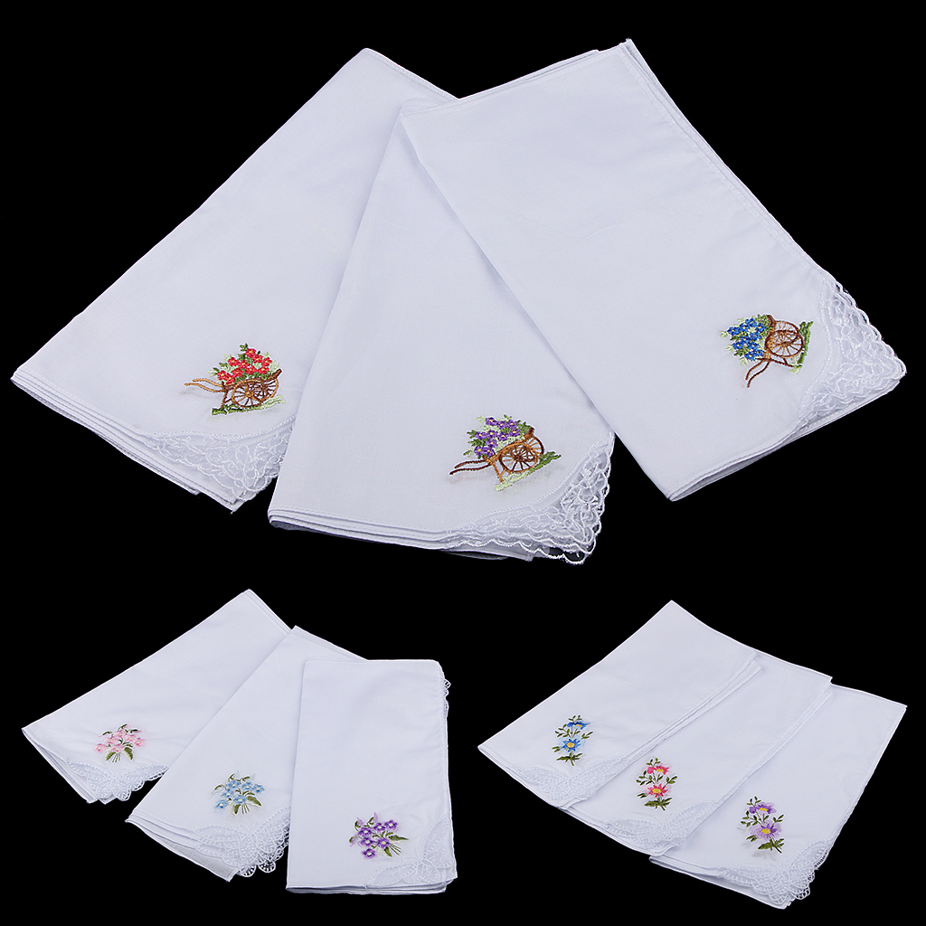 Pack Of 12 Flower Embroidery 100% Cotton Handkerchiefs Comfy Pocket Hanky Square Handkerchiefs For Women White