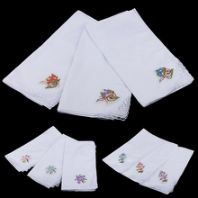Pack of 12 Flower Embroidery 100% Cotton Handkerchiefs Comfy Pocket Hanky Square for Women White