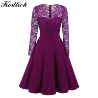 Kostlich Sexy Autumn Dress Women 2017 Lace Hollow Out Evening Party Dresses Long Sleeve Big Swing