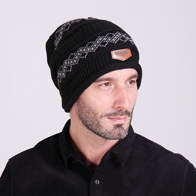 שחור/כחול כהה/קפה/אפור גברים לסרוג בבאגי כפת חורף כובע גולגולת כובע סקי שיק סריגים רפוי חם!